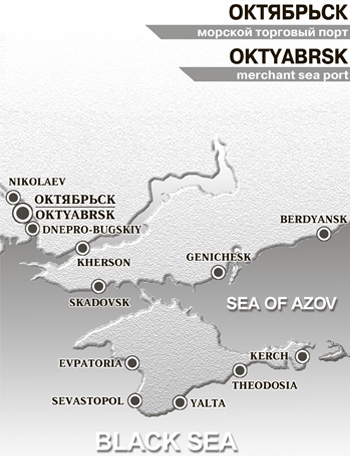 Sea Port Oktyabrsk on Map