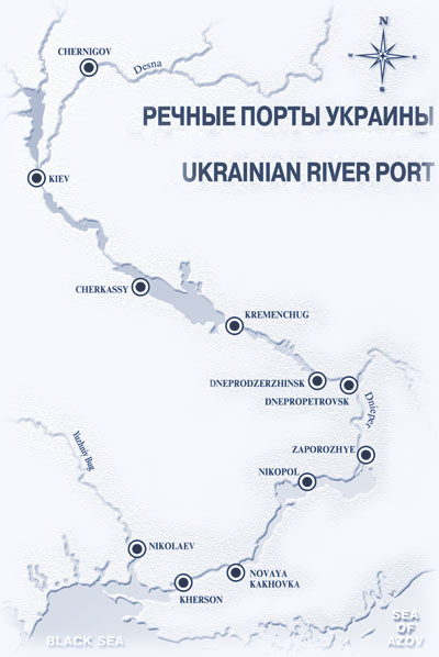 River ports of Ukraine on Map