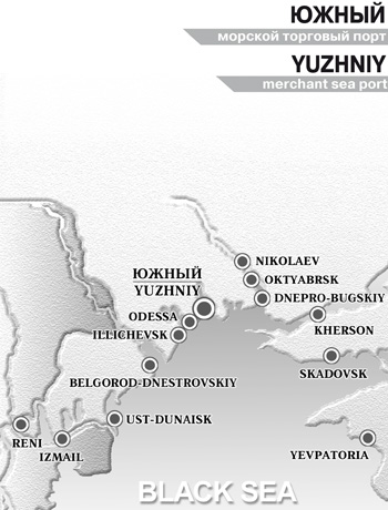 Yuzhny merchant sea port on map