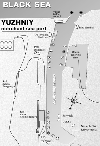 Scheme of Yuzhny merchant sea port