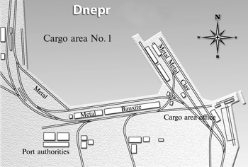Zaporozhye River port. The scheme of the cargo area no. 1