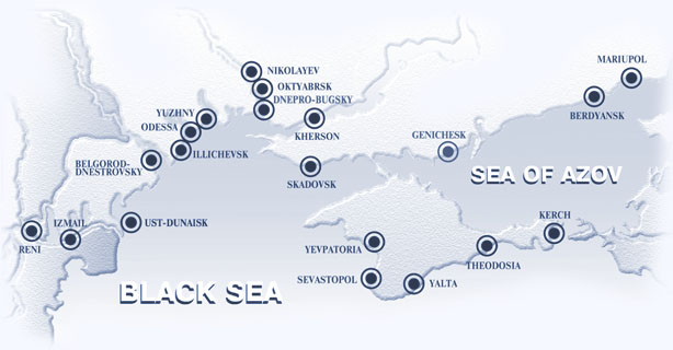 Ukrainian Sea Ports on Map
